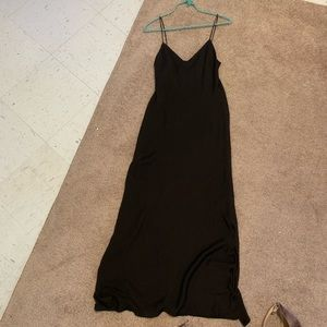 Black silk like slip dress with double side slits